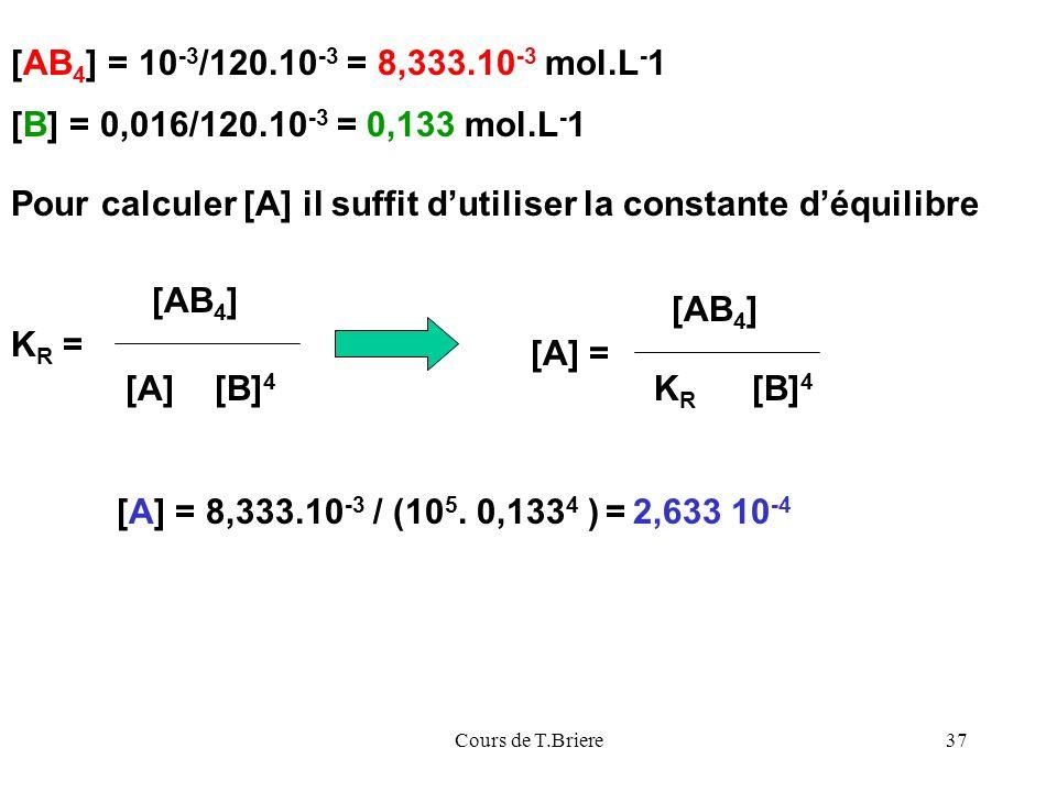Pour calculer [A] il suffit d'utiliser la constante d'équilibre